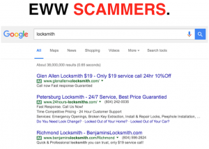 Scammer Locksmith Listings