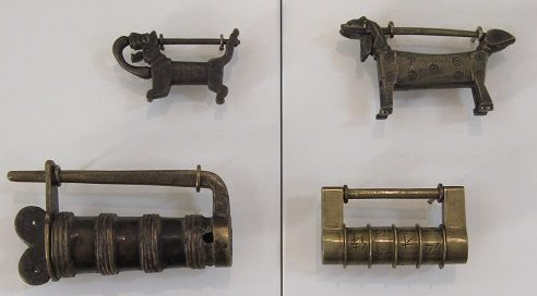 A small collection of antique Chinese padlocks.