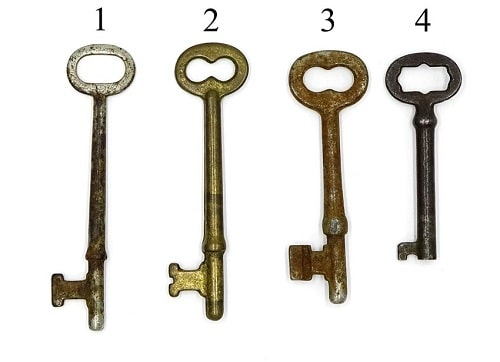 Antique keys like the ones shown can be cloned using lock impressions.