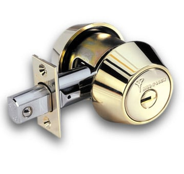 image of a deadbolt door lock